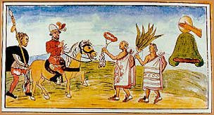 Unsigned 16th century engraving of Juan Garrido and Hernando Cortez meeting Aztecs.