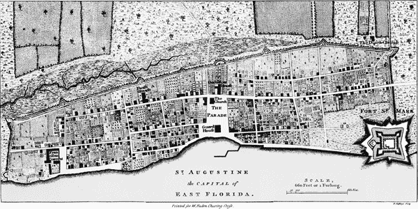 Overhead view of St. Augustine 'East Florida's Capital'