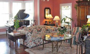 Grand piano at the historic Kenwood Inn Bed and Breakfast in St. Augustine, FL.