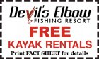 Free Kayak Rentals! Print FACT SHEET for details