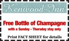Kenwood Inn: Free Bottle of Champagne with a 2 weeknight stay.