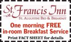 St. Francis Inn: One Morning FREE In-Room Breakfast Service