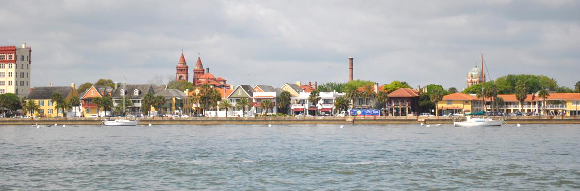 View of downtown St. Augustine's bayfront from the boat ride.