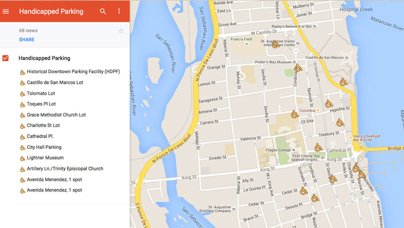 Click Here For A Map Of Handiced Parking Locations In Downtown St Augustine