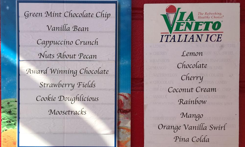 Ice Cream Store Menu a Walk-up Ice-cream Store