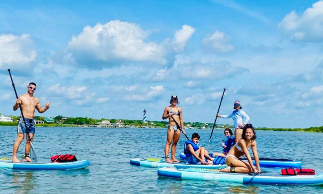Paddleboarding with 904 SUP Yoga in St. Augsutine, FL.