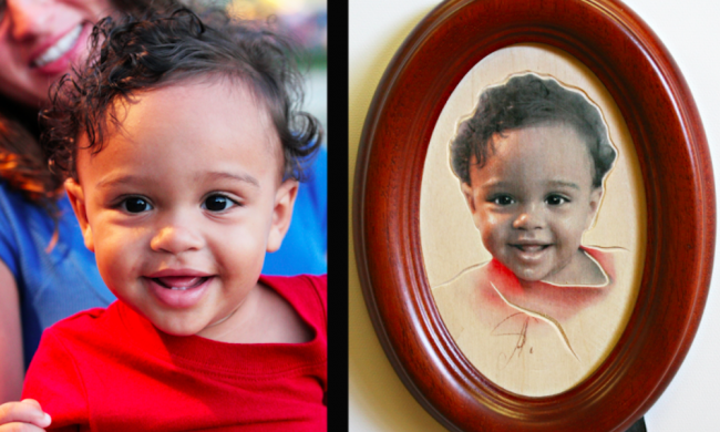 Comparison photo of a baby and their carved portrait from Anatol Studio