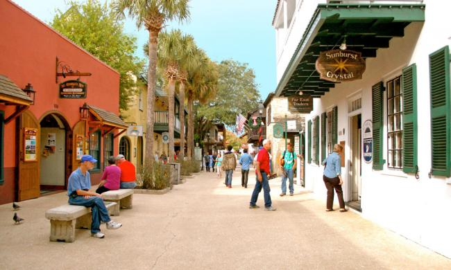 Take a walk on St. George Street in St. Augustine, Florida.