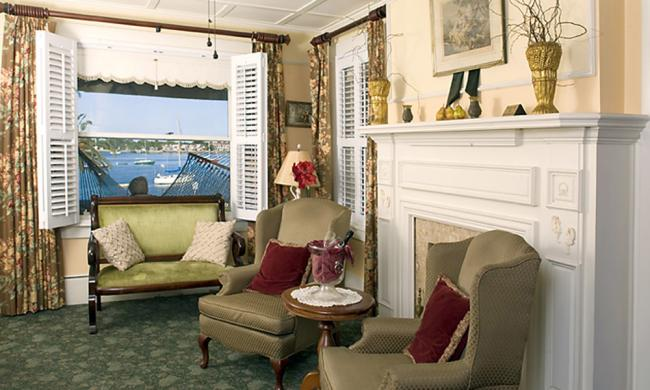 The sitting room of the Casablanca Inn overlooks the Matanzas River bayfront.