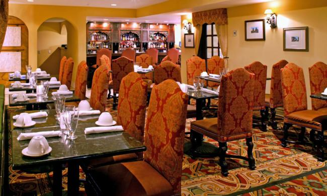 The dining area of the Hilton's Aviles Restaurant in St. Augustine, FL.