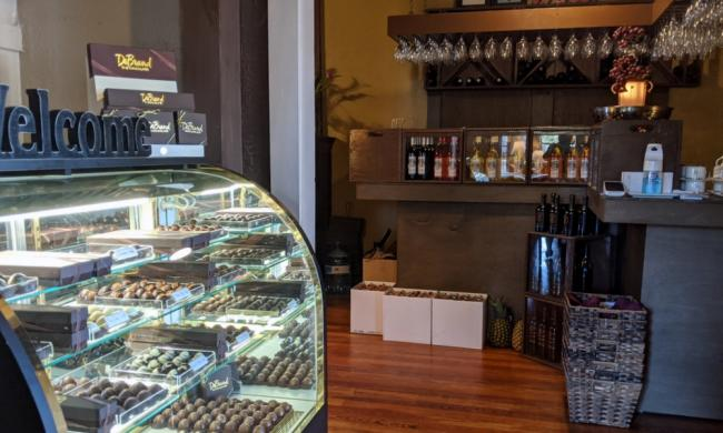 Truffles and wines greet visitors at the entry to Bar Harbor Cheesecake Company in St. Augustine.