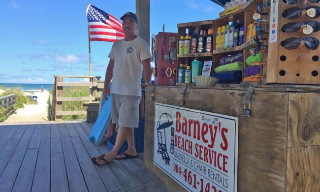 Barney's Beach Service provides beach chair and umbrella rentals in St. Augustine Beach.