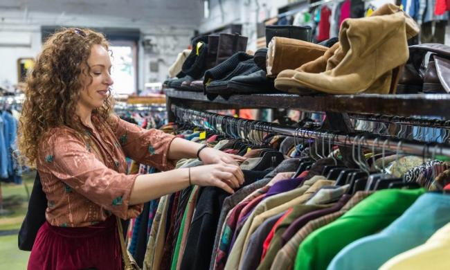 Searching for treasures at Betty Griffin Center Thrift Shoppe in St. Augustine, FL.