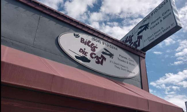 The sign atop the corner shop of Big Bill's Die Cast on San Marco Avenue in St. Augustine.