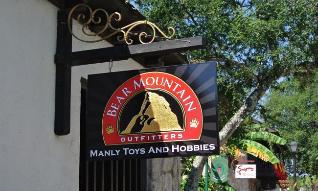 Bear Mountain Outfitters is located at the corner of Hypolita and St. George Street in St. Augustine, Florida.