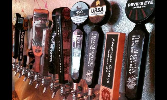 """""""24 Florida craft beers and 99 bottles of beer on the wall"""" at Brewz 'N' Dawgz in St. Augustine, Florida."""