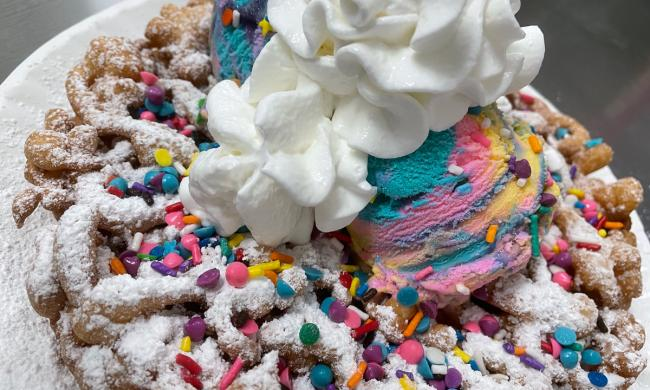 A brightly decorated funnel cake at Carnival Sweets in St. Augustine.