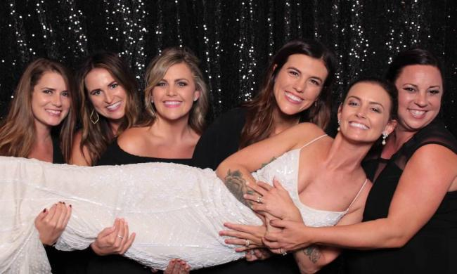 A bridal party enjoys Chic Booth in St. Augustine, FL.