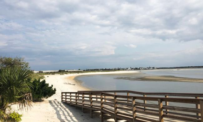 The walk to the beach on the river estuary side of the Matanzas Inlet.