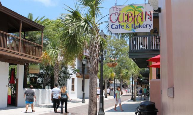 The exterior and entrace of Cuban Café and Bakery in St. Augustine.