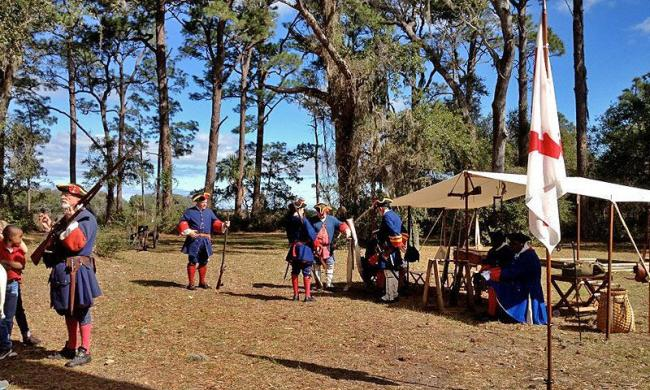 Historic re-enactors demonstrate life at Fort Mose in the mid-1700s.