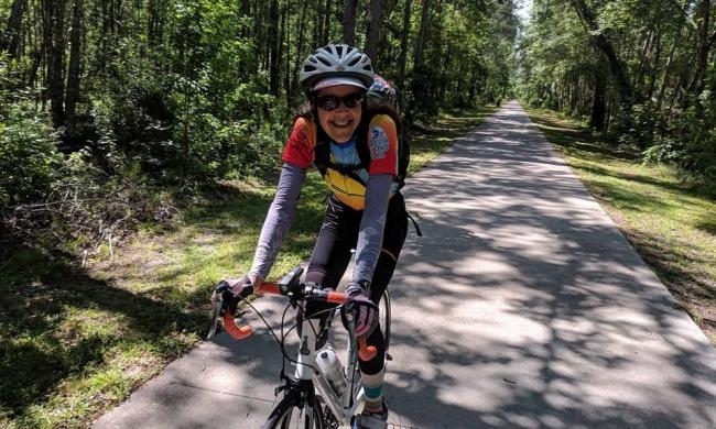 A cyclist on the Greenway in Georgia, heading to St. Augustine.