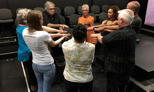 A team building exercise at The Adventure Project's Improv Basics class in St. Augustine, FL.