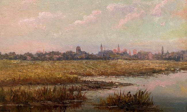 Felix F. de Crano (French-American, 1839-1908) Marshes and St. Augustine Skyline, 1893 Oil on Board