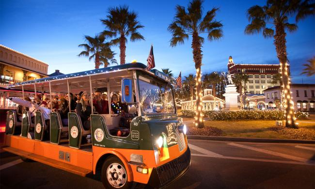 Old Town Trolleys Famous Nights of Lights Tour offers guests an exciting way to see the holiday lights in St. Augustine.