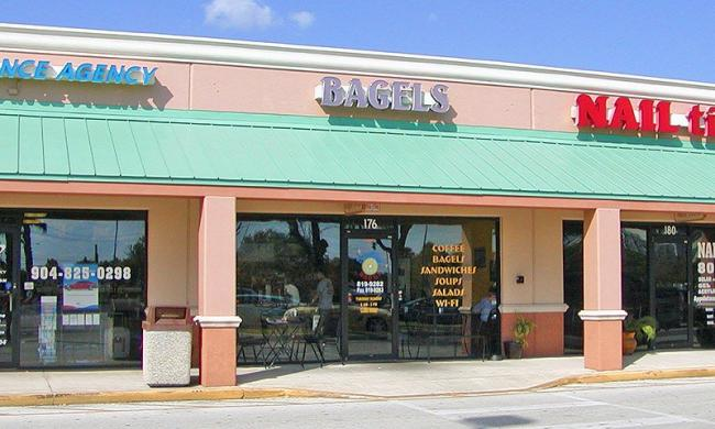 The entrance to Everything Bagel in the Riverside Plaza.