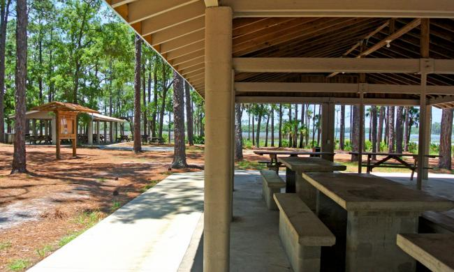 The picnic pavilion at Faver-Dykes State Park.