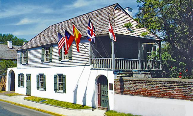 Front view of the Oldest House Museum Complex off St. Francis Street.