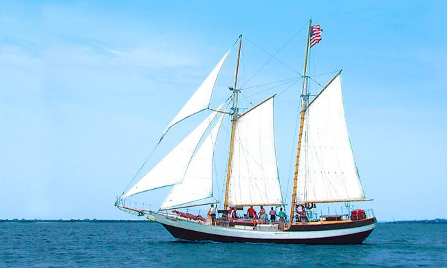 The Schooner Freedom under sail in St. Augustine, Florida.
