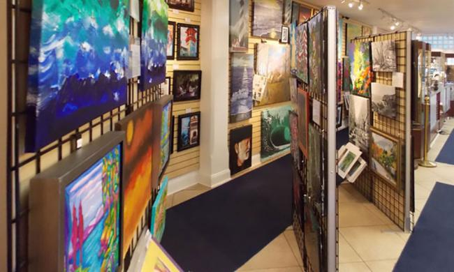Artwork by over 30 local artists are displayed at the Galeria Lyons in St. Augustine, Florida.