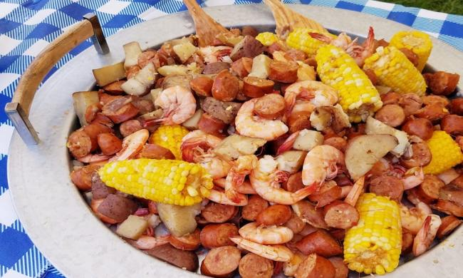 Low country boil courtesy of Get Shuckin' in St. Augustine, FL.