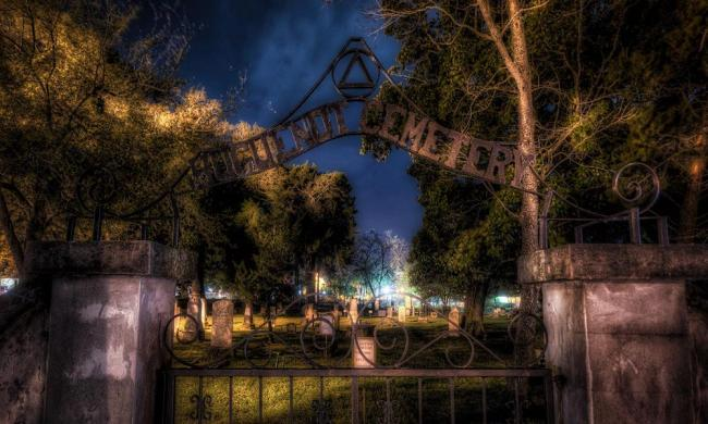 The haunted Huguenot Cemetery - a stop on Ghost City Tours in St. Augustine, Florida.