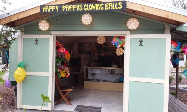 The small shop for Happy Pappys Golden Balls in St. Augustine.