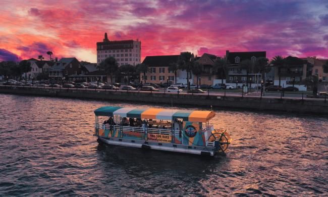 Old Town Cycle Cruise enjoying St. Augustine under a spectacular sunset.
