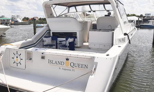 The Island Queen, on the dock and ready for day-charters in St. Augustine.