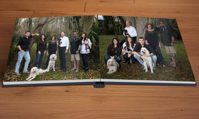 Two heirloom portraits of an extended family and their dogs, taken by Jackie Hird in St. Augustine.