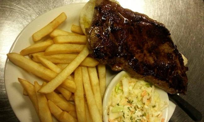 NY Strip Steak, Fries, and Coleslaw at Jim's Place in Elkton, Florida