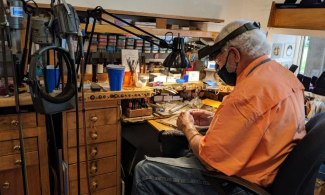 Joel Bagnal, goldsmith, creates and repairs jewelry in this small shop on Aviles Street in St. Augustine.