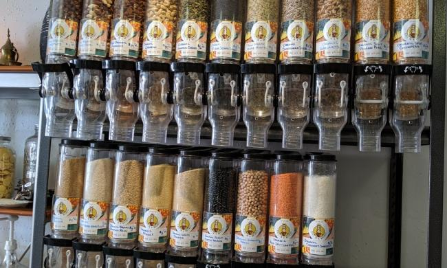 A display of nuts and dried beans from Peace In a Nutshell at Local Refillery in St. Augustine.