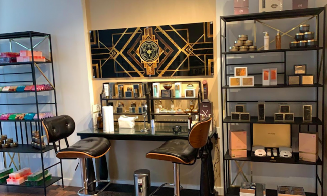 Makeup and treatment counter at Natural Blossom in St. Augustine, FL