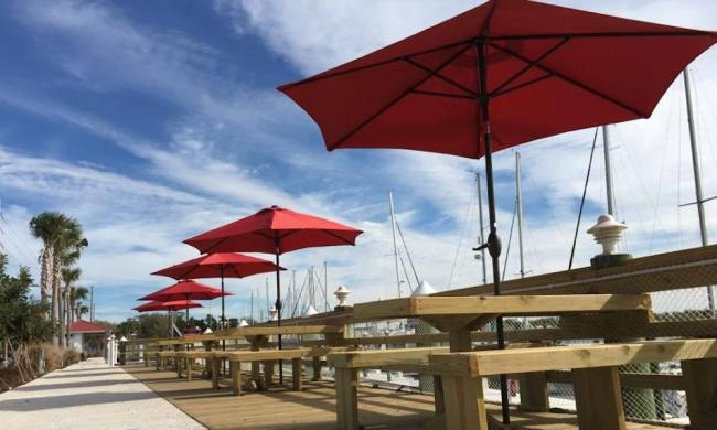 Outdoor seating at Marina Munch in St. Augustine, Florida