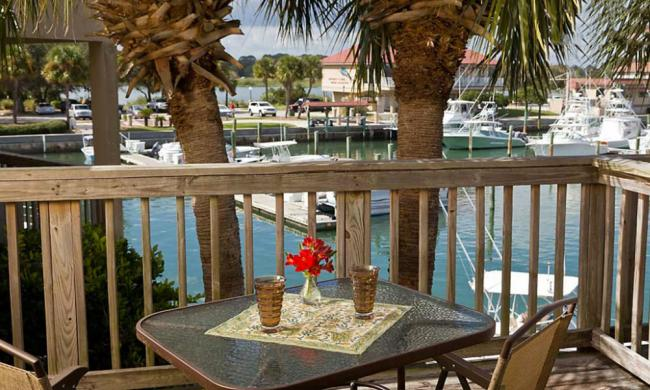 This lovely marina view is one of the two water views from this special suite.