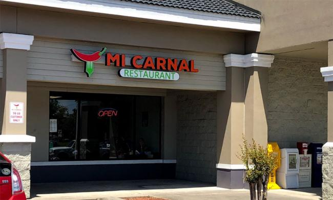 The entrance to Mi Carnal at Lewis Plaza in St. Augustine.