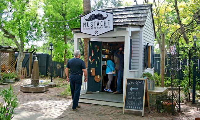 The small shop that is Mustache: Merchant of Man Crafts in St. Augustine.