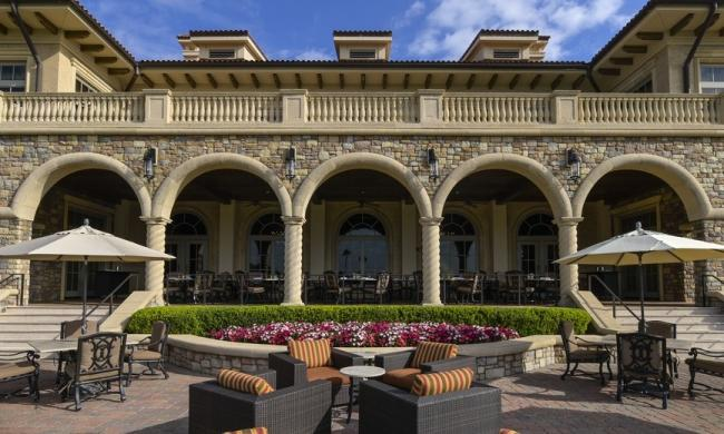The veranda and patio dining spaces at Nineteen at TPC Sawgrass north of St. Augustine.