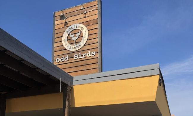 The sign atop the craft bar and kitchen of Odd Birds on Anastasia Island in St. Augustine.